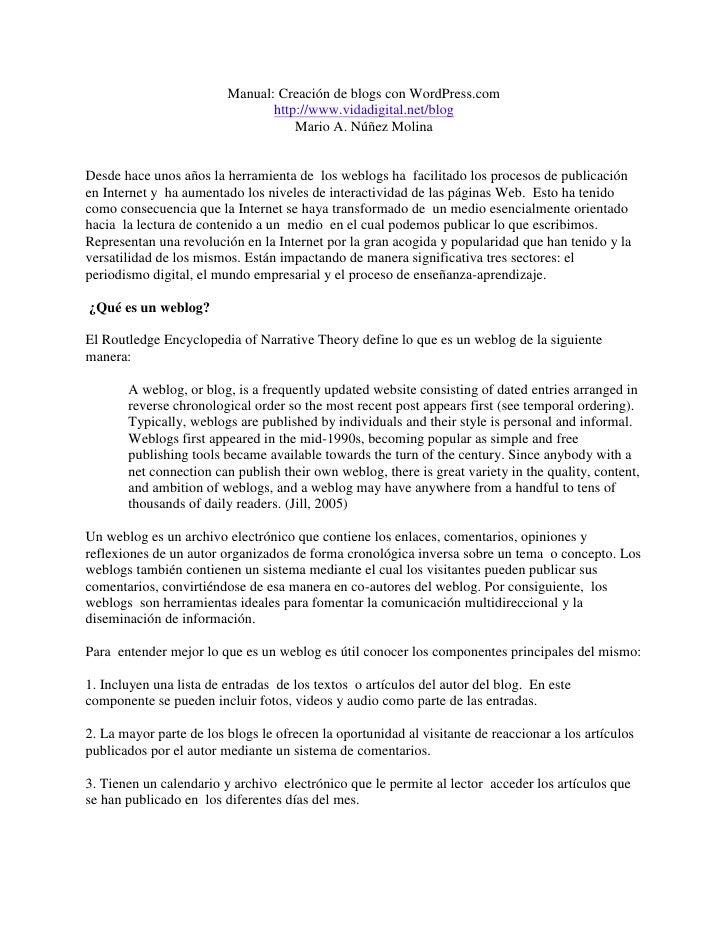 Manual creación blogs wordpress