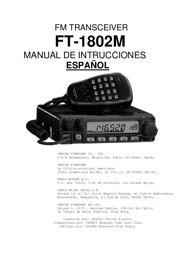 Manual yaesu ft 1802