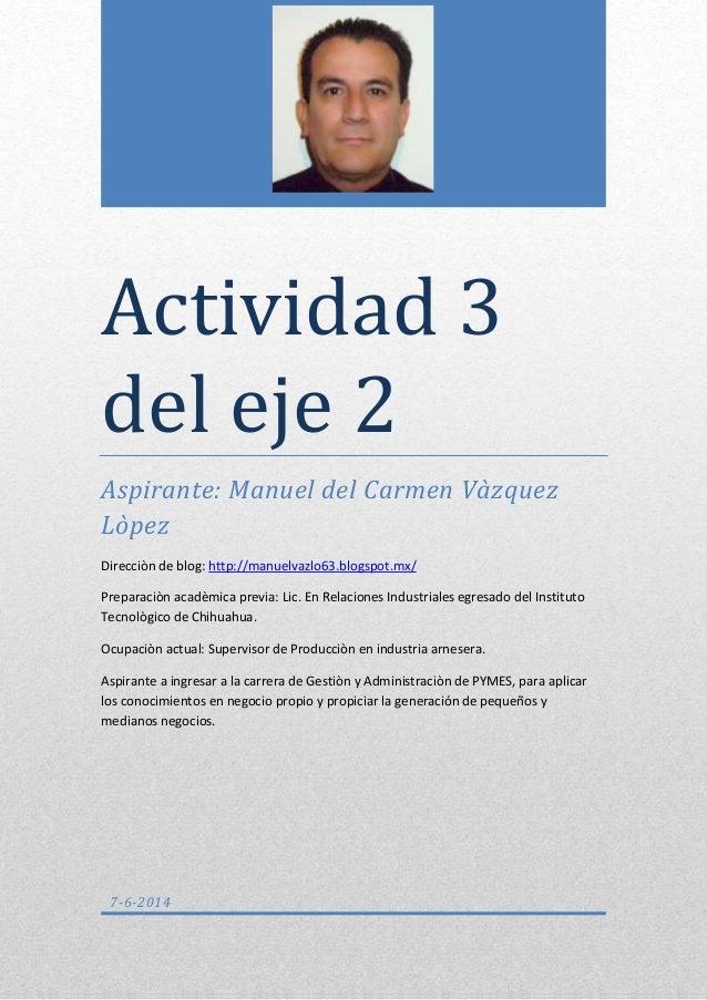 Actividad 3 del eje 2 Aspirante: Manuel del Carmen Vàzquez Lòpez Direcciòn de blog: http://manuelvazlo63.blogspot.mx/ Prep...
