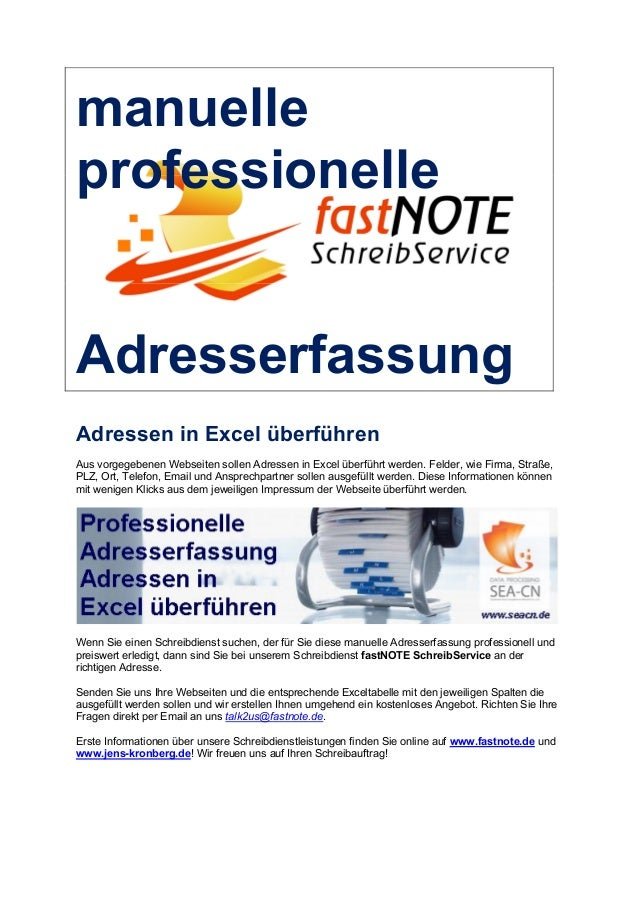 manuelle professionelle Adresserfassung Adressen in Excel überführen Aus vorgegebenen Webseiten sollen Adressen in Excel ü...