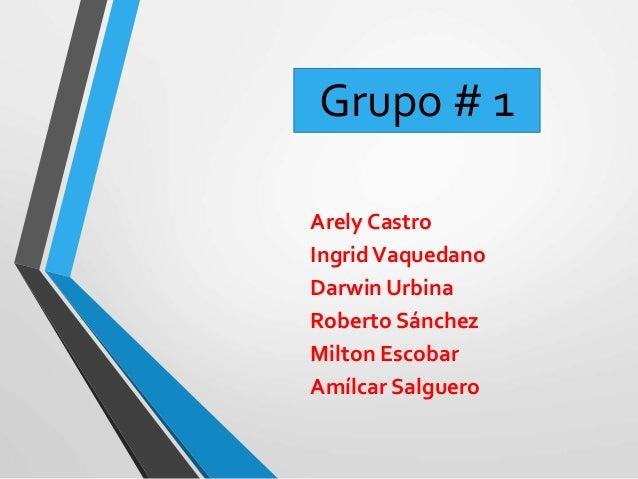Arely Castro IngridVaquedano Darwin Urbina Roberto Sánchez Milton Escobar Amílcar Salguero Grupo # 1
