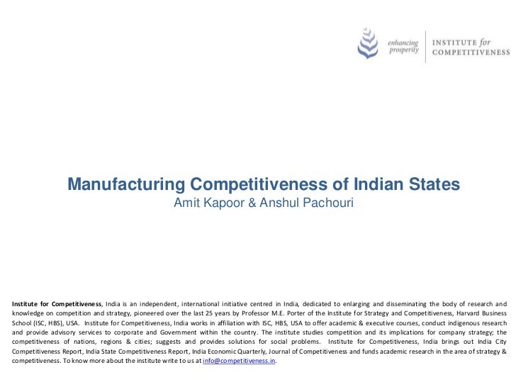 Manufacturing Competitiveness of Indian States                                                      Amit Kapoor & Anshul P...