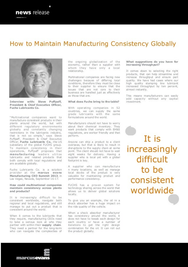 How to Maintain Manufacturing Consistency Globally - Steve Puffpaff, Fuchs Lubricants Co.