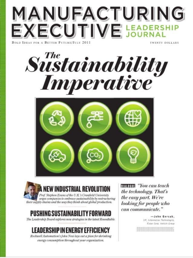 Manufacturing executive leadership journal   sustainability