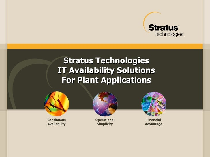 Stratus Technologies IT Availability Solutions For Plant Applications