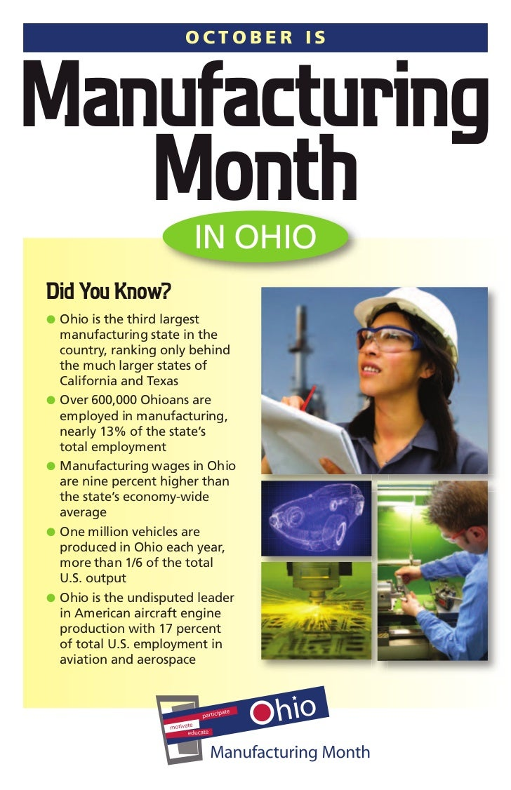 OCTOBER ISManufacturing   Month                  IN OHIODid You Know?G Ohio is the third largest    manufacturing state in...