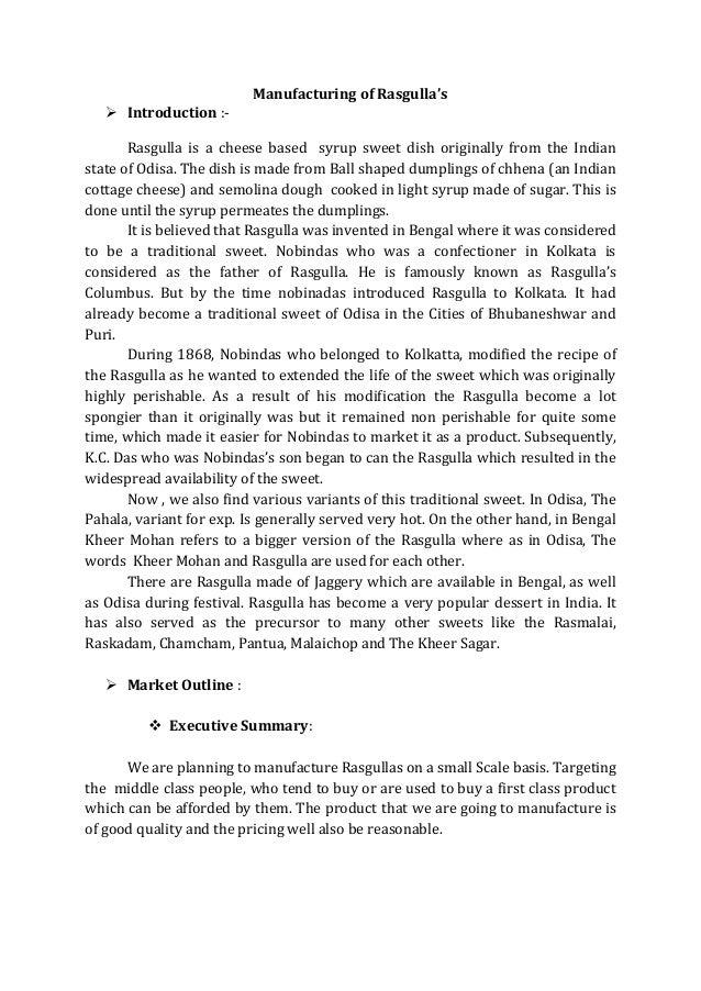 Manufacturing of rasgulla