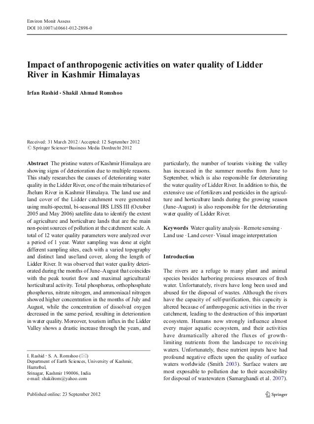 Environ Monit AssessDOI 10.1007/s10661-012-2898-0Impact of anthropogenic activities on water quality of LidderRiver in Kas...