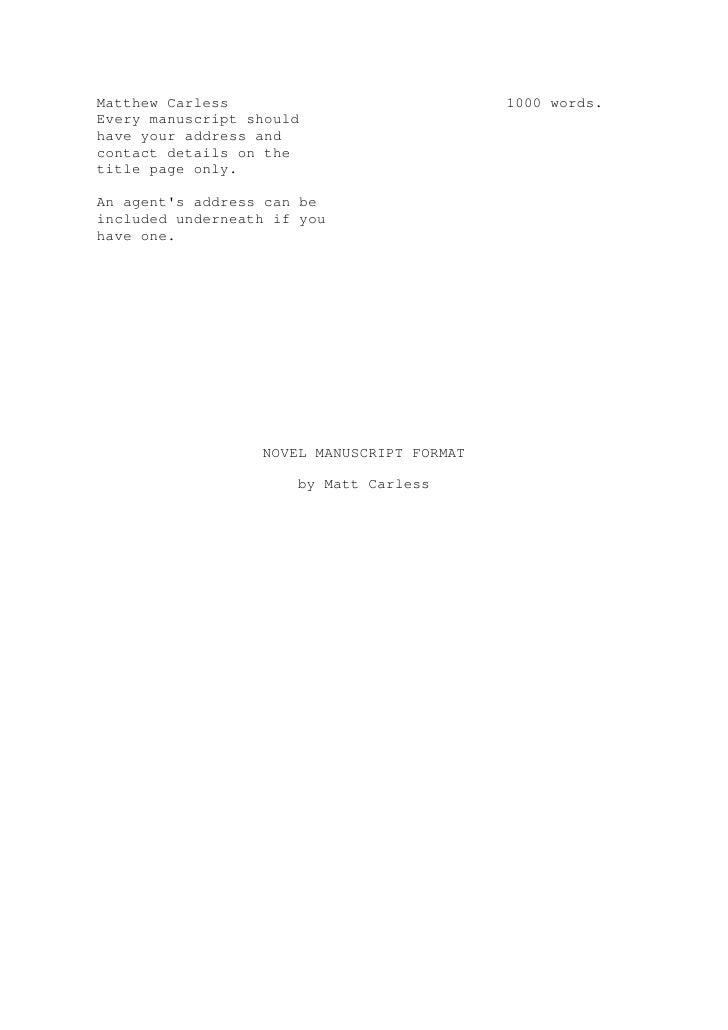 Manuscript formate