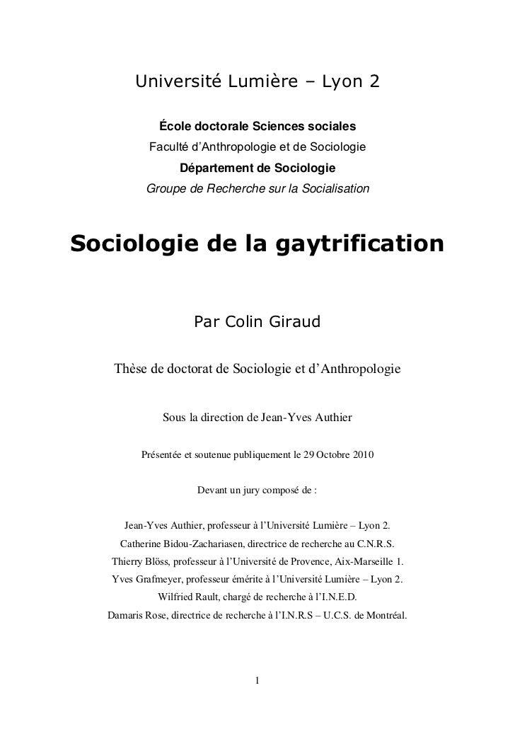 Université Lumière – Lyon 2               École doctorale Sciences sociales            Faculté d'Anthropologie et de Socio...