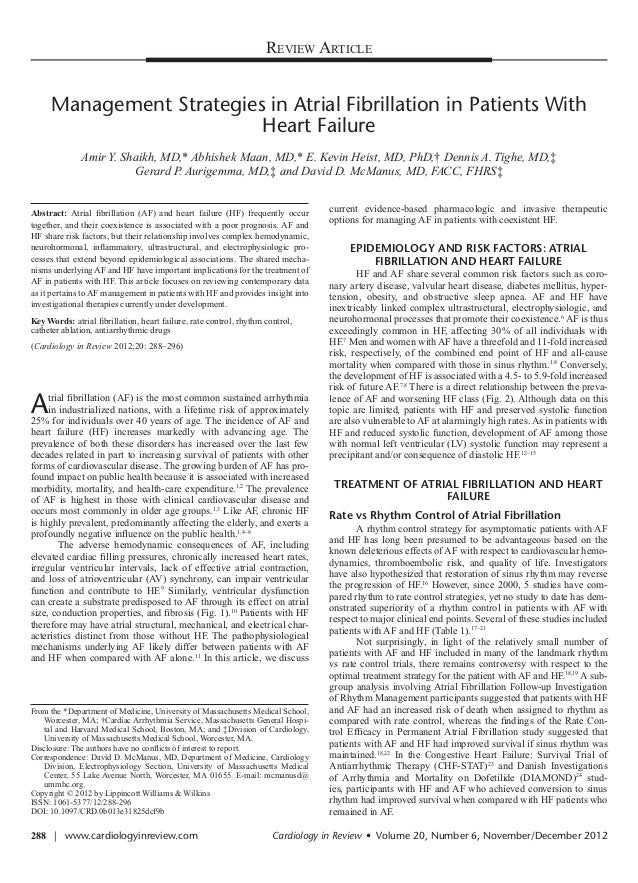 Review Article         Management Strategies in Atrial Fibrillation in Patients With                              Heart Fa...