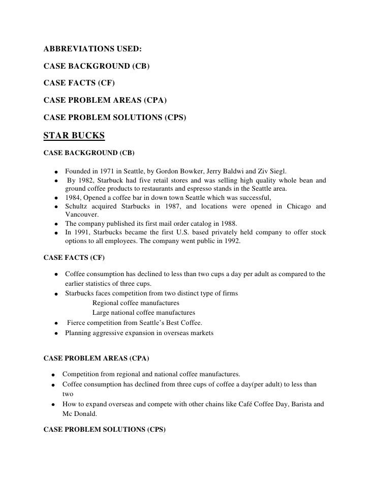 ABBREVIATIONS USED:CASE BACKGROUND (CB)CASE FACTS (CF)CASE PROBLEM AREAS (CPA)CASE PROBLEM SOLUTIONS (CPS)STAR BUCKSCASE B...