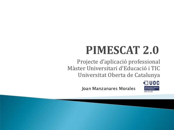 Projecte d'aplicació professionalM{ster Universitari d'Educació i TIC   Universitat Oberta de Catalunya     Joan Manzanare...