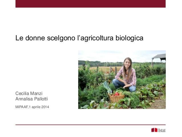 Le donne scelgono l'agricoltura biologica Cecilia Manzi Annalisa Pallotti MiPAAF,1 aprile 2014