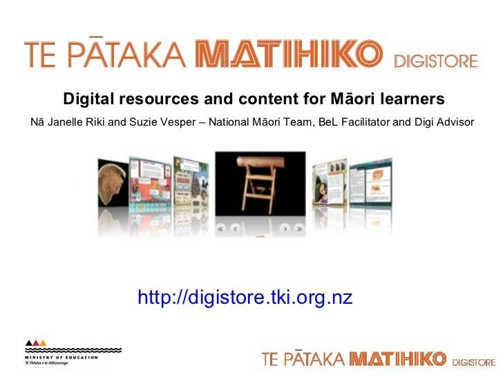Maori digital resources in Digistore and online