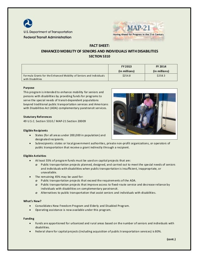 FACT SHEET:              ENHANCED MOBILITY OF SENIORS AND INDIVIDUALS WITH DISABILITIES                                   ...