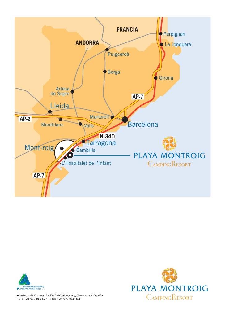 Mapa como llegar al camping playa montroig