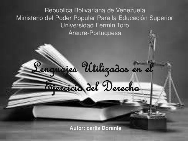 Republica Bolivariana de Venezuela  Ministerio del Poder Popular Para la Educación Superior  Universidad Fermín Toro  Arau...