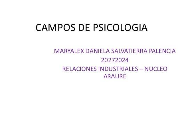 CAMPOS DE PSICOLOGIA   MARYALEX DANIELA SALVATIERRA PALENCIA                 20272024     RELACIONES INDUSTRIALES – NUCLEO...