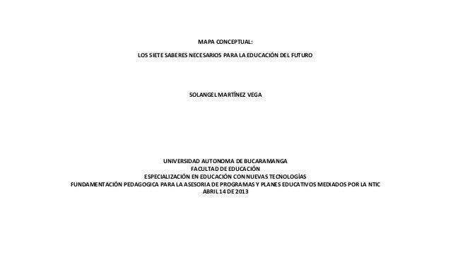 MAPA CONCEPTUAL:                    LOS SIETE SABERES NECESARIOS PARA LA EDUCACIÓN DEL FUTURO                             ...