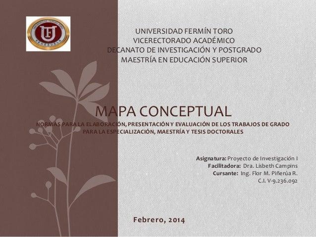 UNIVERSIDAD FERMÍN TORO VICERECTORADO ACADÉMICO DECANATO DE INVESTIGACIÓN Y POSTGRADO MAESTRÍA EN EDUCACIÓN SUPERIOR  MAPA...