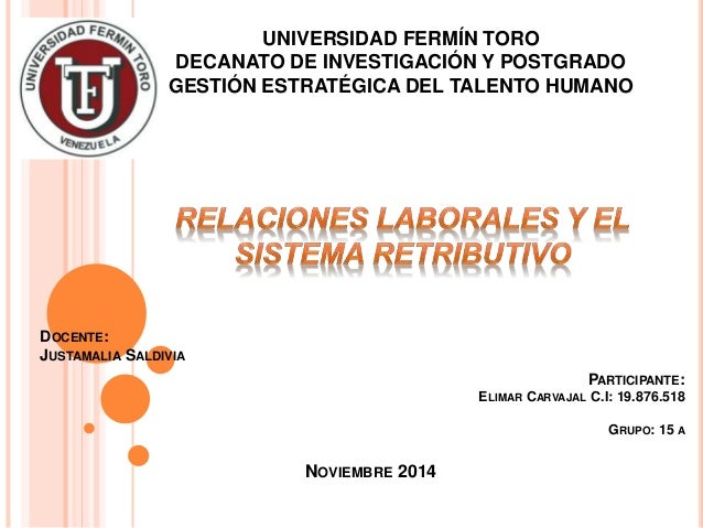 UNIVERSIDAD FERMÍN TORO DECANATO DE INVESTIGACIÓN Y POSTGRADO GESTIÓN ESTRATÉGICA DEL TALENTO HUMANO NOVIEMBRE 2014 PARTIC...