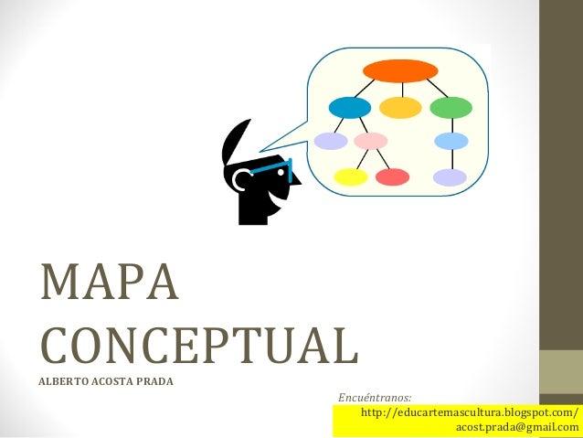 MAPA CONCEPTUALALBERTO ACOSTA PRADA Encuéntranos: http://educartemascultura.blogspot.com/ acost.prada@gmail.com