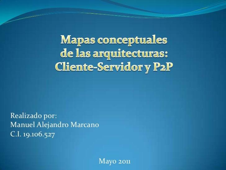 Mapas conceptuales<br />de las arquitecturas:<br />Cliente-Servidor y P2P<br />Realizado por: <br />Manuel Alejandro Marca...