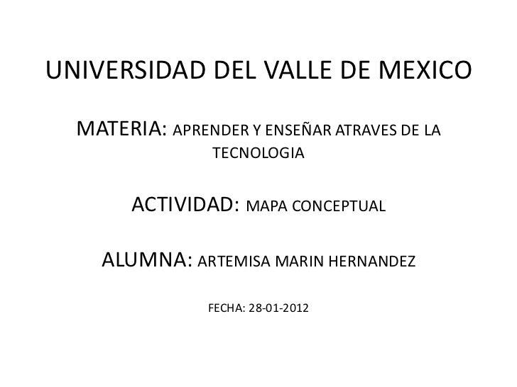 UNIVERSIDAD DEL VALLE DE MEXICO  MATERIA: APRENDER Y ENSEÑAR ATRAVES DE LA                 TECNOLOGIA        ACTIVIDAD: MA...