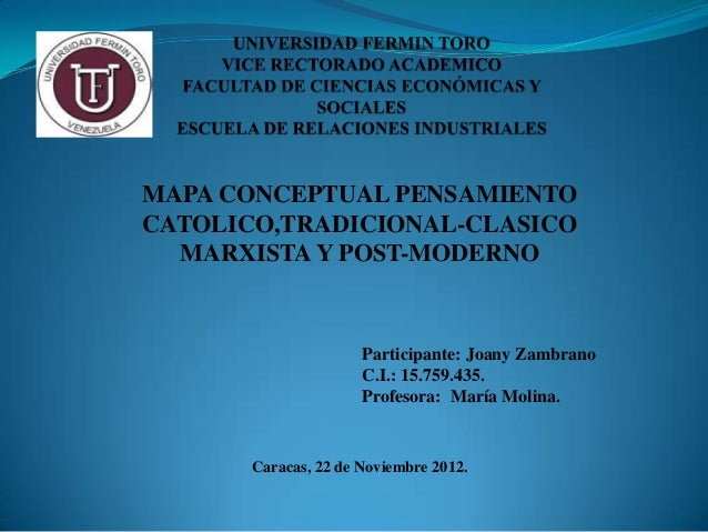 Mapa conceptual catolicismo, tradicional, marxismo y post moderno