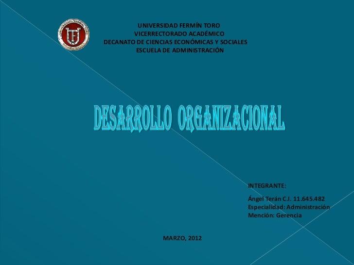 UNIVERSIDAD FERMÍN TORO        VICERRECTORADO ACADÉMICODECANATO DE CIENCIAS ECONÓMICAS Y SOCIALES        ESCUELA DE ADMINI...