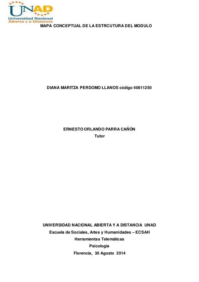 MAPA CONCEPTUAL DE LA ESTRCUTURA DEL MODULO  DIANA MARITZA PERDOMO LLANOS código 40611250  ERNESTO ORLANDO PARRA CAÑÓN  Tu...