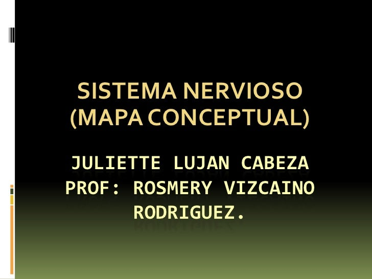 SISTEMA NERVIOSO <br />(MAPA CONCEPTUAL)<br />JULIETTE LUJAN CABEZAPROF: ROSMERY VIZCAINO RODRIGUEZ.<br />