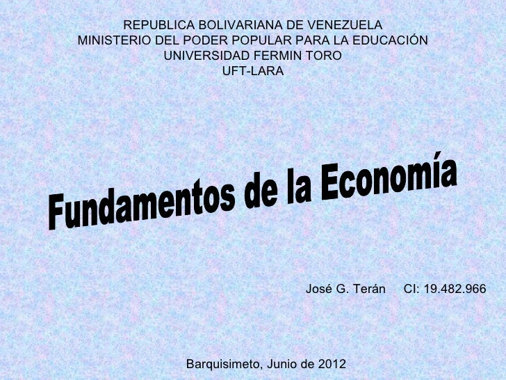 REPUBLICA BOLIVARIANA DE VENEZUELAMINISTERIO DEL PODER POPULAR PARA LA EDUCACIÓN            UNIVERSIDAD FERMIN TORO       ...