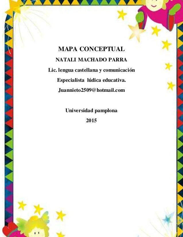 MAPA CONCEPTUAL NATALI MACHADO PARRA Lic. lengua castellana y comunicación Especialista lúdica educativa. Juannieto2509@ho...