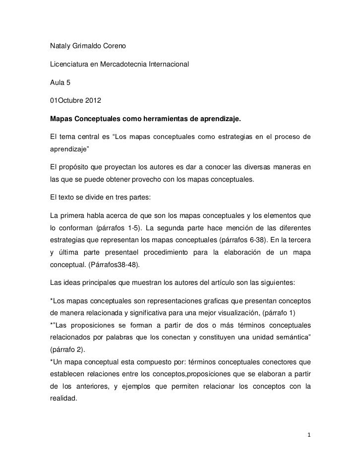 Nataly Grimaldo CorenoLicenciatura en Mercadotecnia InternacionalAula 501Octubre 2012Mapas Conceptuales como herramientas ...