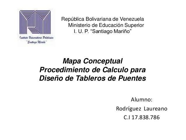 """República Bolivariana de Venezuela        Ministerio de Educación Superior          I. U. P. """"Santiago Mariño""""      Mapa C..."""