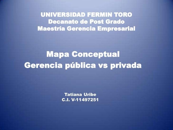 UNIVERSIDAD FERMIN TORO      Decanato de Post Grado   Maestría Gerencia Empresarial    Mapa ConceptualGerencia pública vs ...
