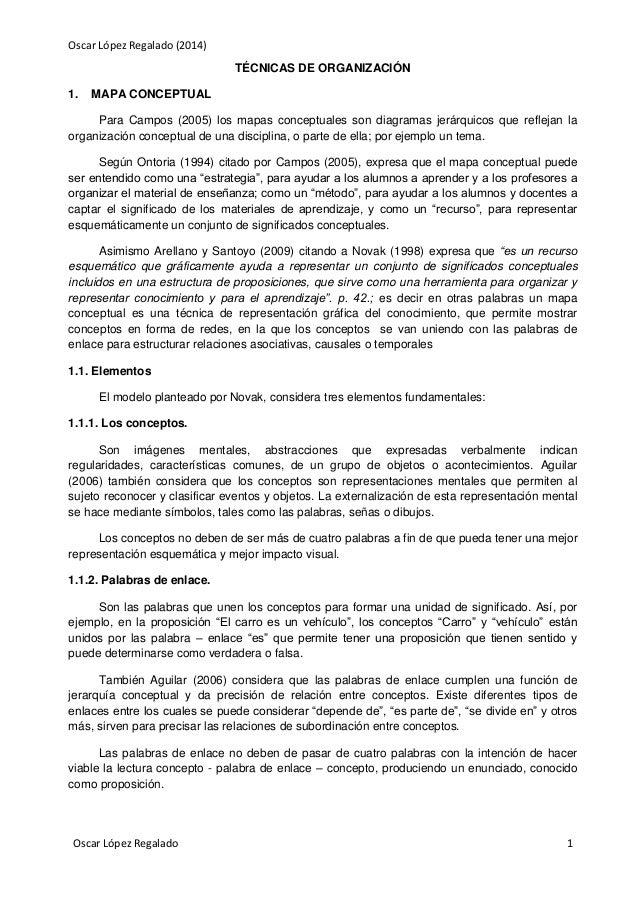 Oscar López Regalado (2014) TÉCNICAS DE ORGANIZACIÓN 1.  MAPA CONCEPTUAL  Para Campos (2005) los mapas conceptuales son di...