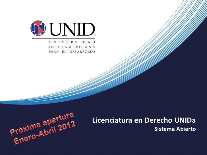 Lic. en Derecho UNIDa Plan 2011