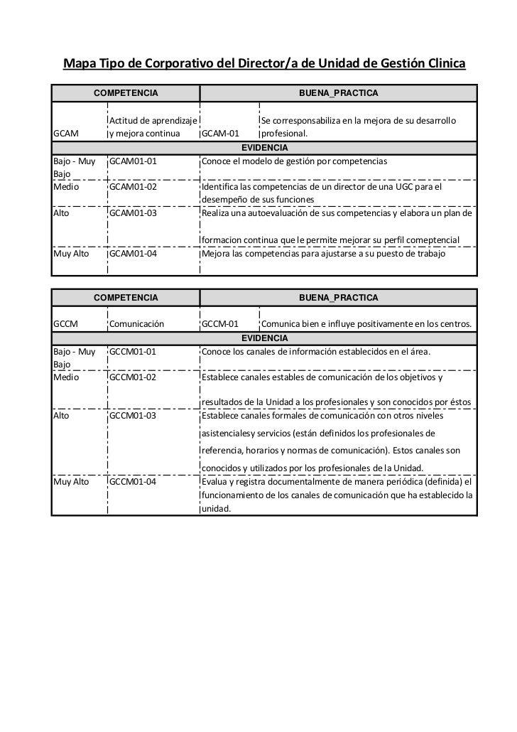 Mapa de competencias tipo del director de Unidad de Gestión Clínica