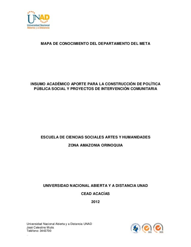 MAPA DE CONOCIMIENTO DEL DEPARTAMENTO DEL META  INSUMO ACADÉMICO APORTE PARA LA CONSTRUCCIÓN DE POLÍTICA    PÚBLICA SOCIAL...