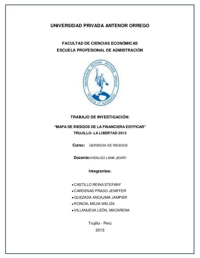 UNIVERSIDAD PRIVADA ANTENOR ORREGO  FACULTAD DE CIENCIAS ECONÓMICAS ESCUELA PROFESIONAL DE ADMISTRACIÒN  TRABAJO DE INVEST...