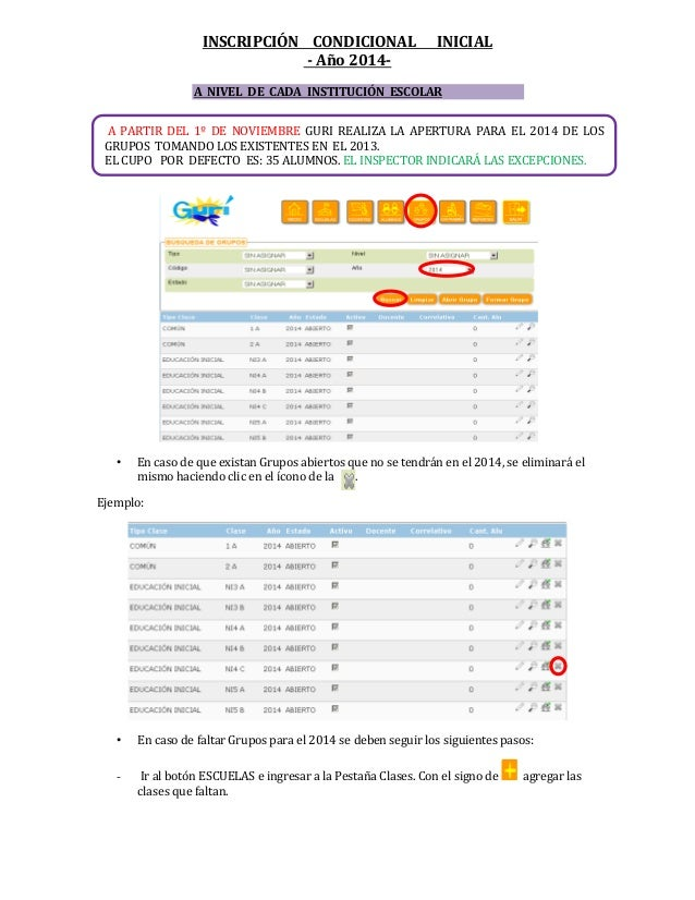 INSCRIPCIÓN CONDICIONAL - Año 2014-  INICIAL  A NIVEL DE CADA INSTITUCIÓN ESCOLAR A PARTIR DEL 1º DE NOVIEMBRE GURI REALIZ...