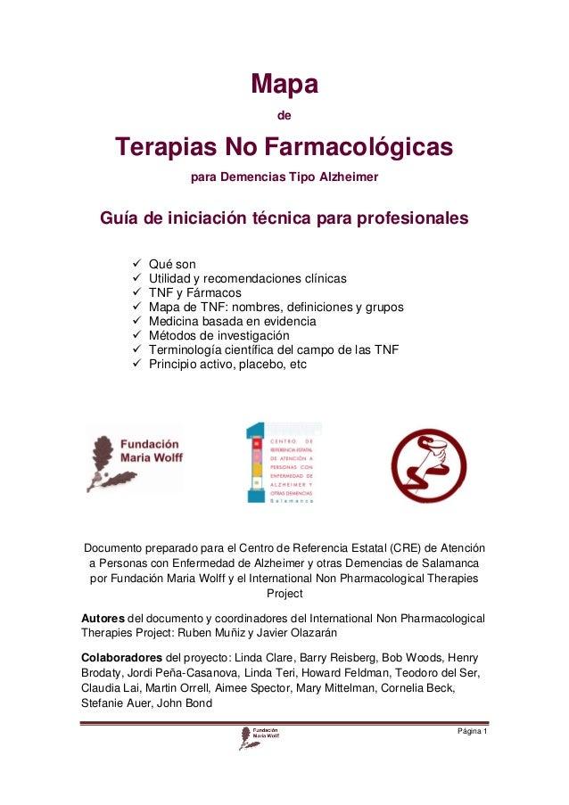 Mapa de  Terapias No Farmacológicas para Demencias Tipo Alzheimer  Guía de iniciación técnica para profesionales     ...
