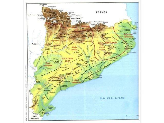 Mapa físic Catalunya