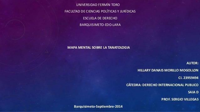 UNIVERSIDAD FERMÍN TORO  FACULTAD DE CIENCIAS POLÍTICAS Y JURÍDICAS  ESCUELA DE DERECHO  BARQUISIMETO-EDO-LARA  MAPA MENTA...