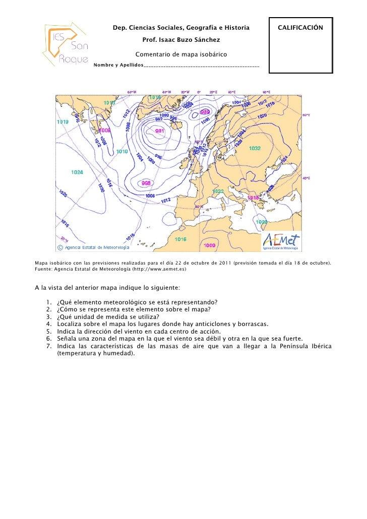 Comentario de un Mapa Isobárico