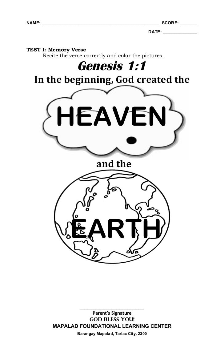 God Created The Heavens And The Earth Coloring Page