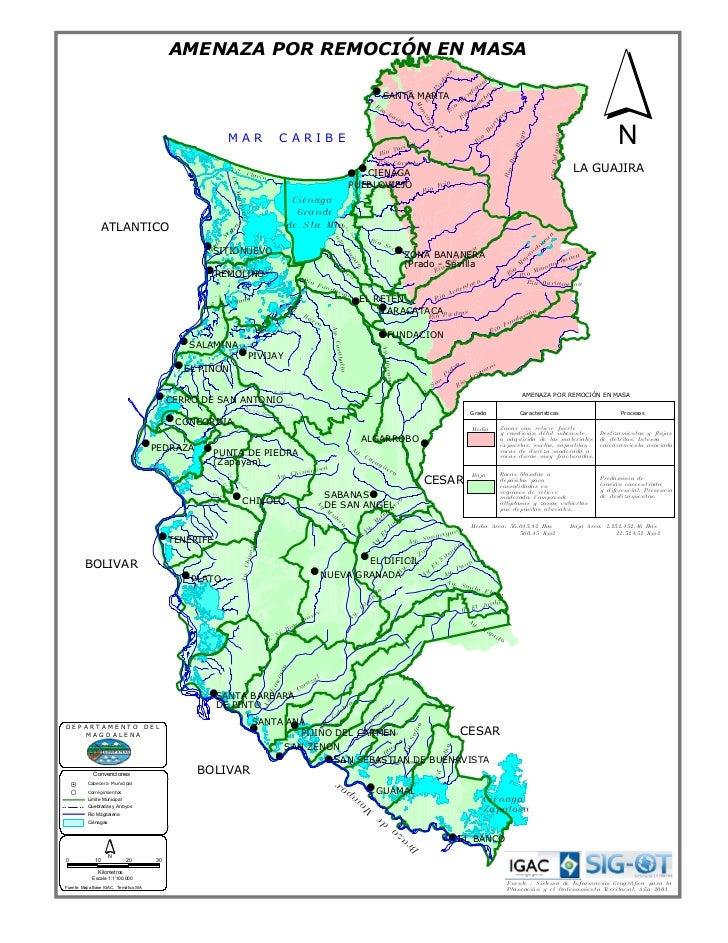 Mapa magdalena amenaza por remosion en masa